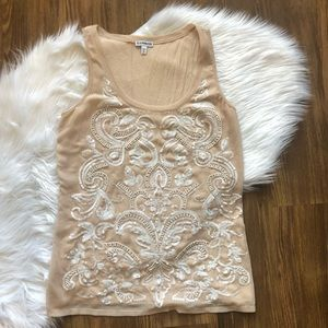 Express cream and white embellished tank top